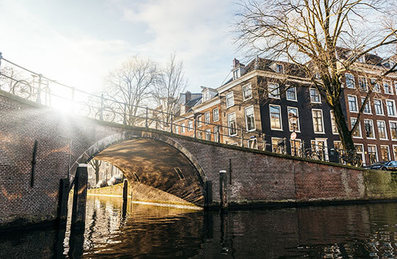 Bridge over a canal in Amsterdam during winter