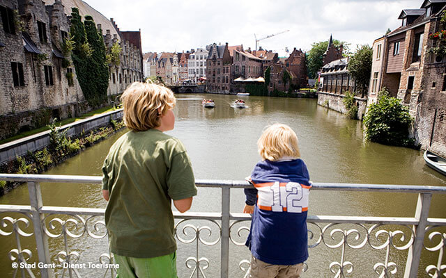 Boys overlooking a canal in Ghent