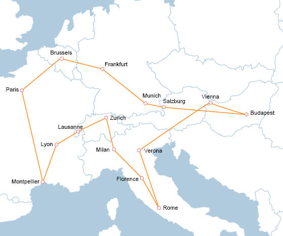 Interrail across Europe