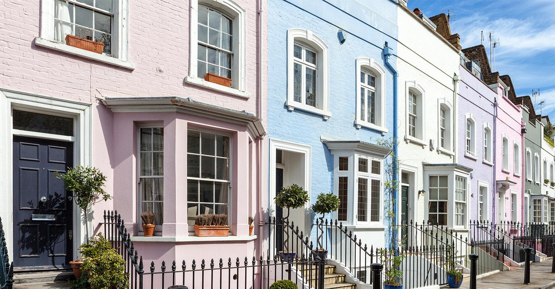 Kleurrijke huizen in Londen