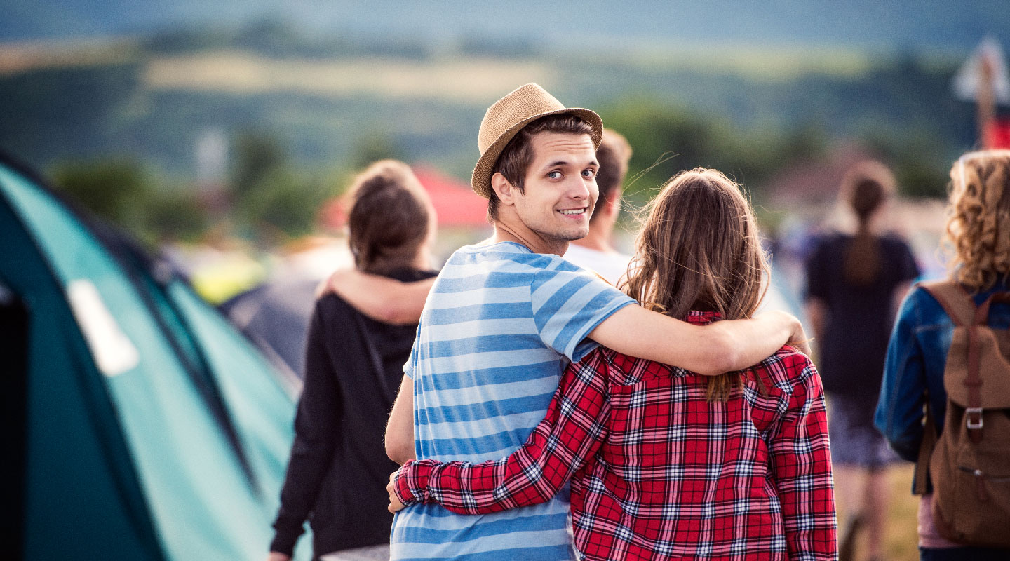 Young couple at music festival in Europe