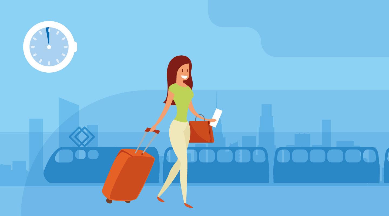 Arriveer minuten voor het vertrek, geen kosten en check-in voor bagage