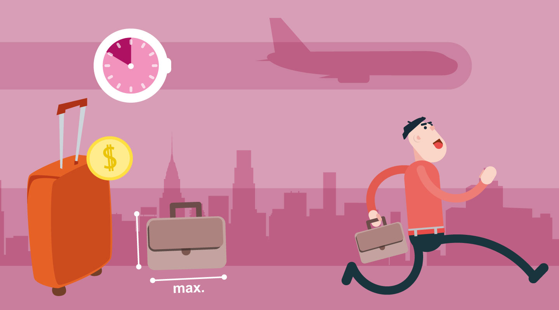 Arriveer uren voor het boarden, respecteer afmetingen en gewicht van bagage en check ruimbagage in
