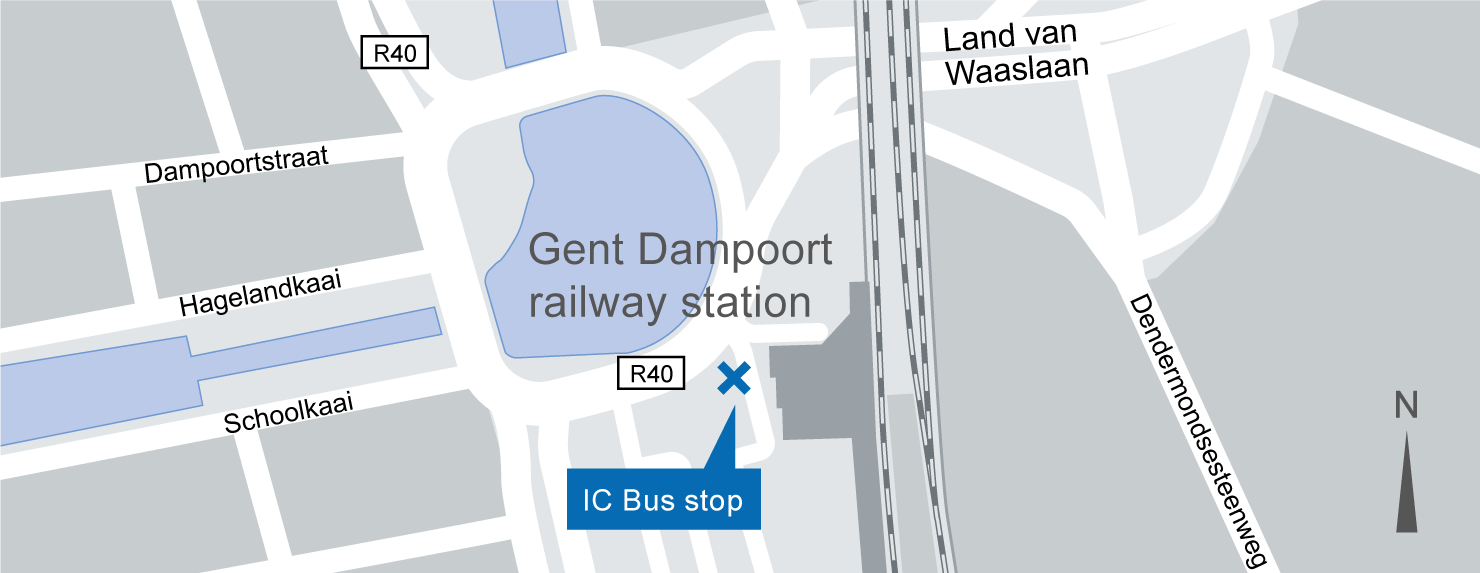 location of the Gent-Dampoort IC-Bus stop on the map.