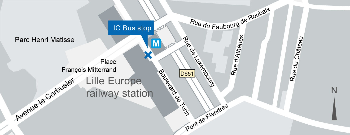 location of the Lille Europe IC-Bus stop on the map.