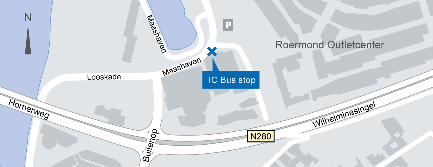 location of the Roermond IC-Bus stop on the map.