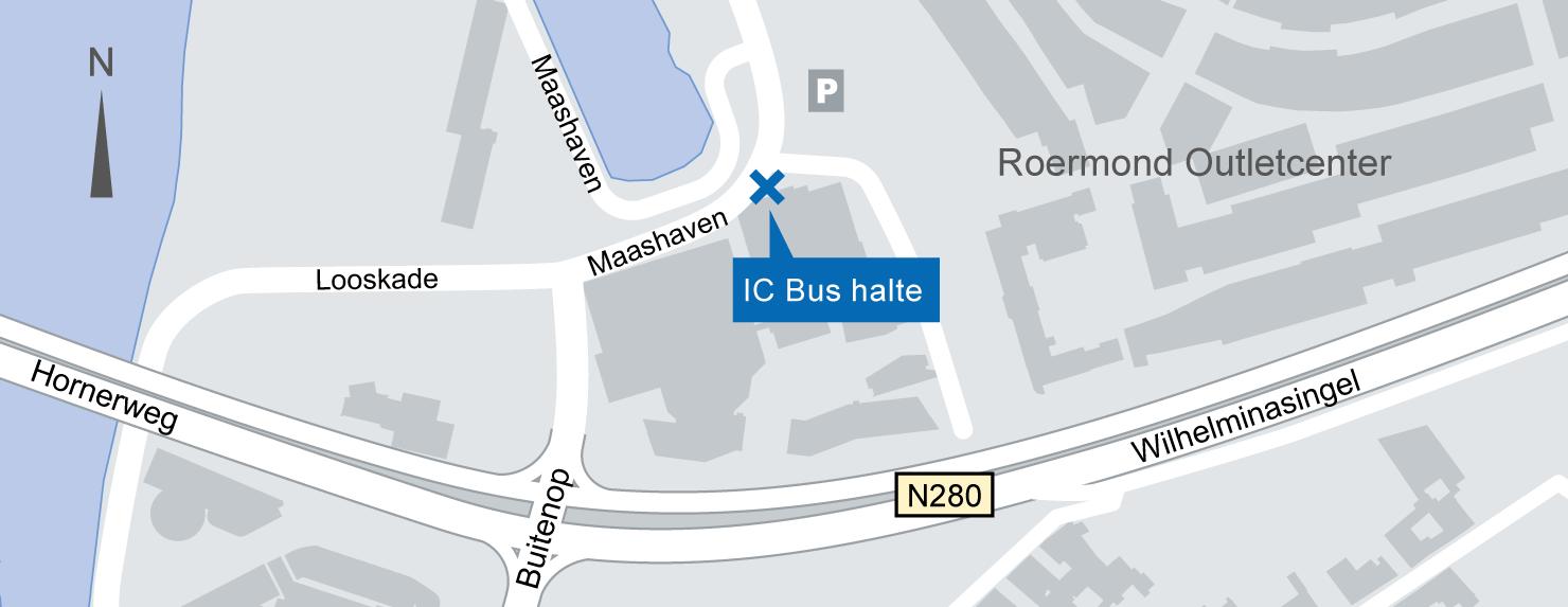 Plattegrond IC-Bus halte Roermond