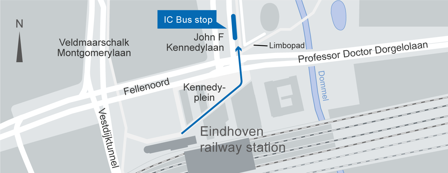 location of the Eindhoven IC-Bus stop on the map.