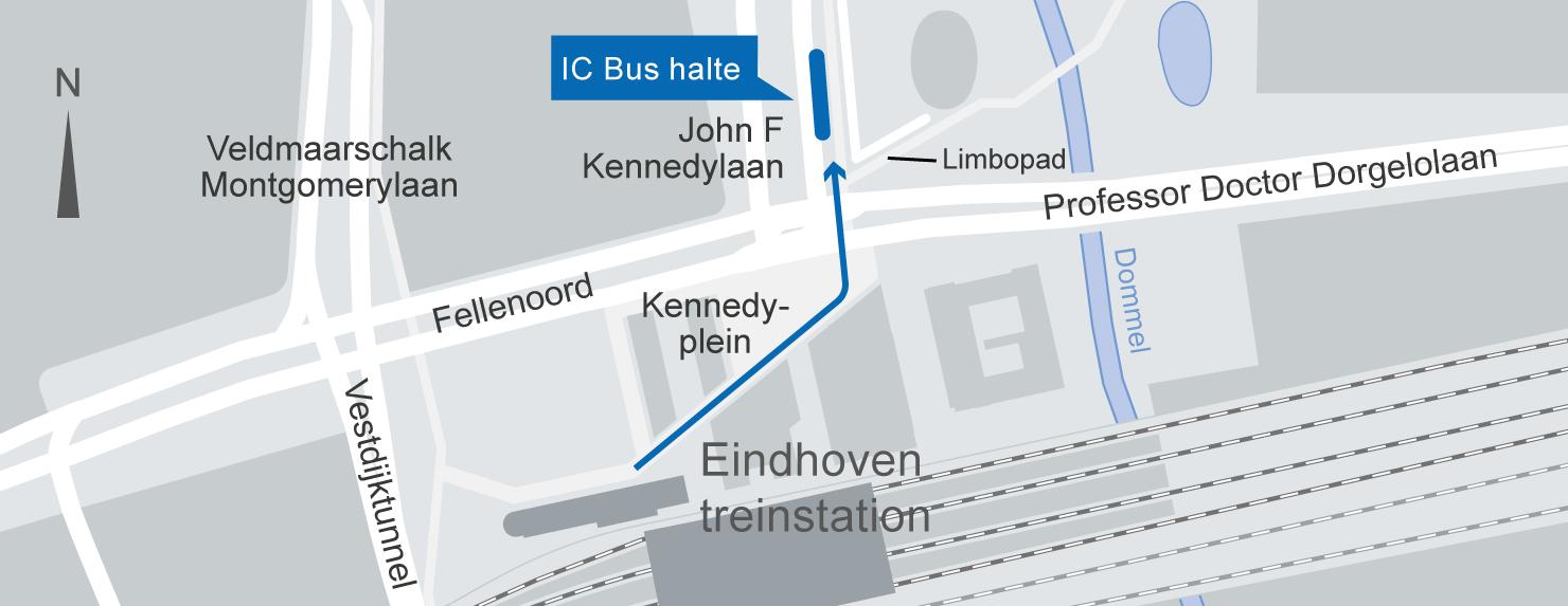 Plattegrond IC-Bus halte Eindhoven