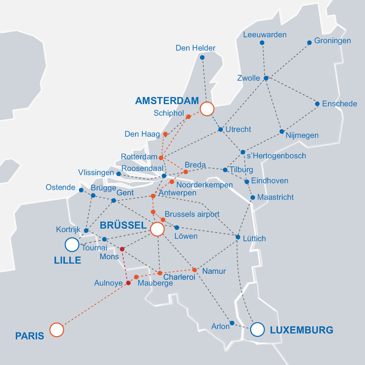 Intercity trains to/from Belgium on a map
