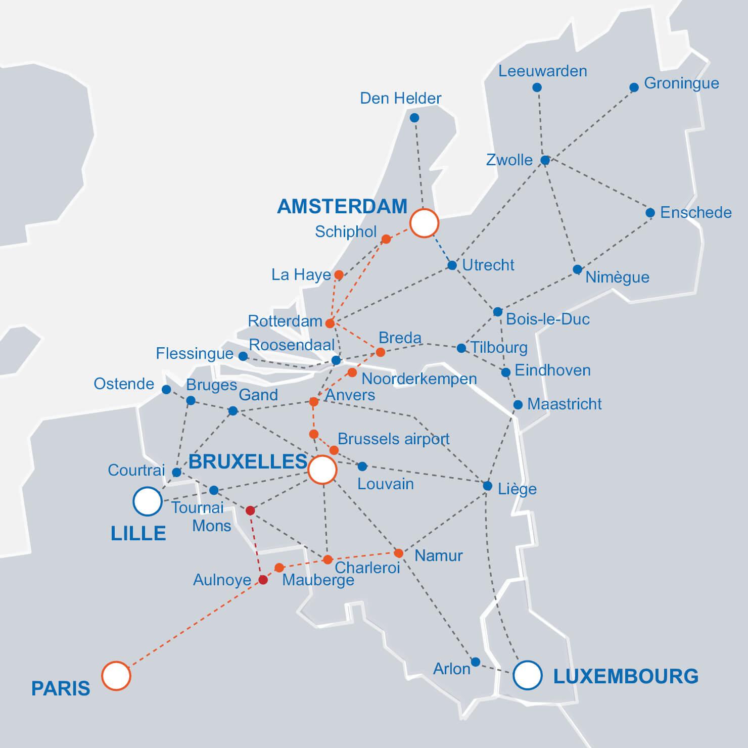 Trains IC au départ et à destination de la Belgique: carte du réseau