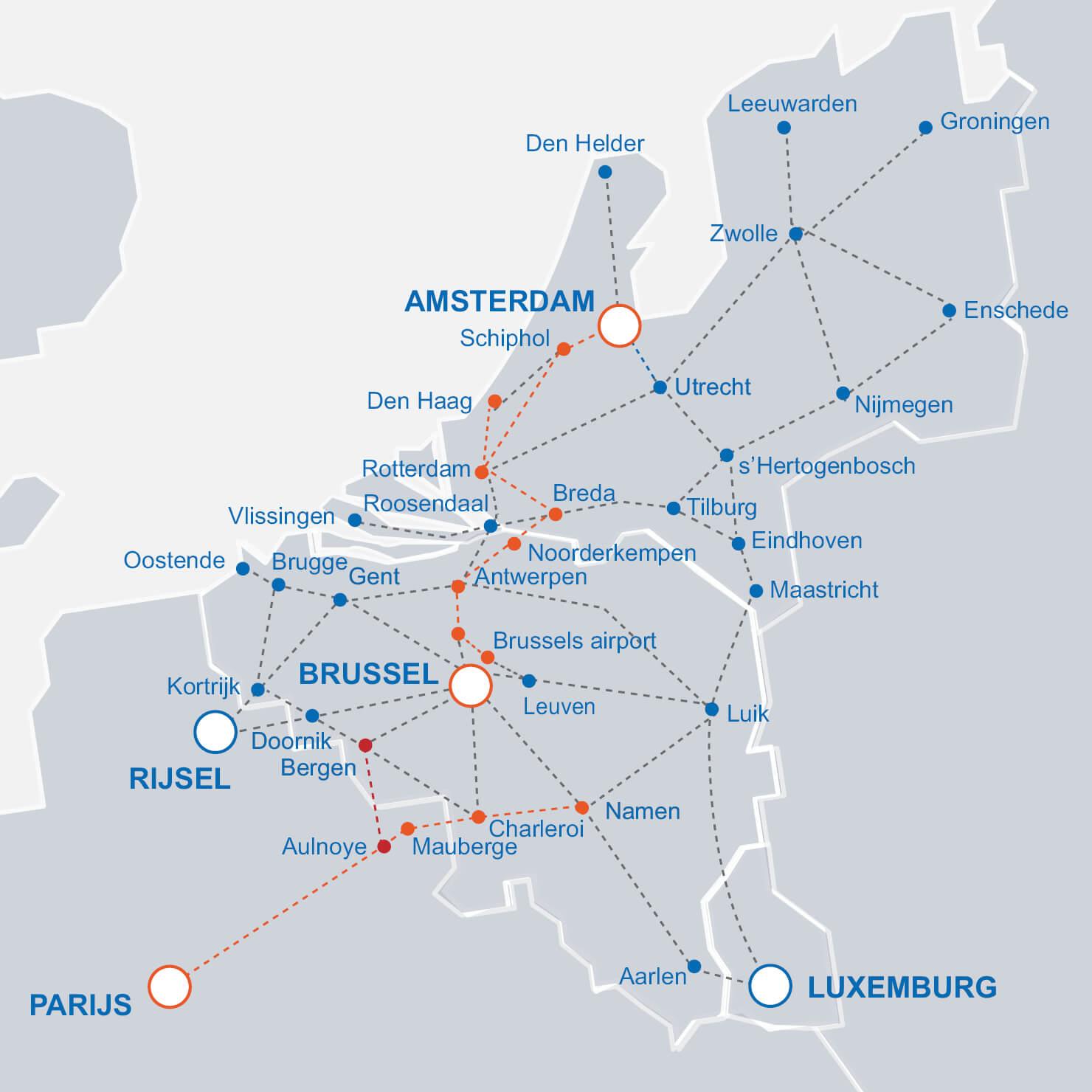kaart Intercity treinen van en naar België