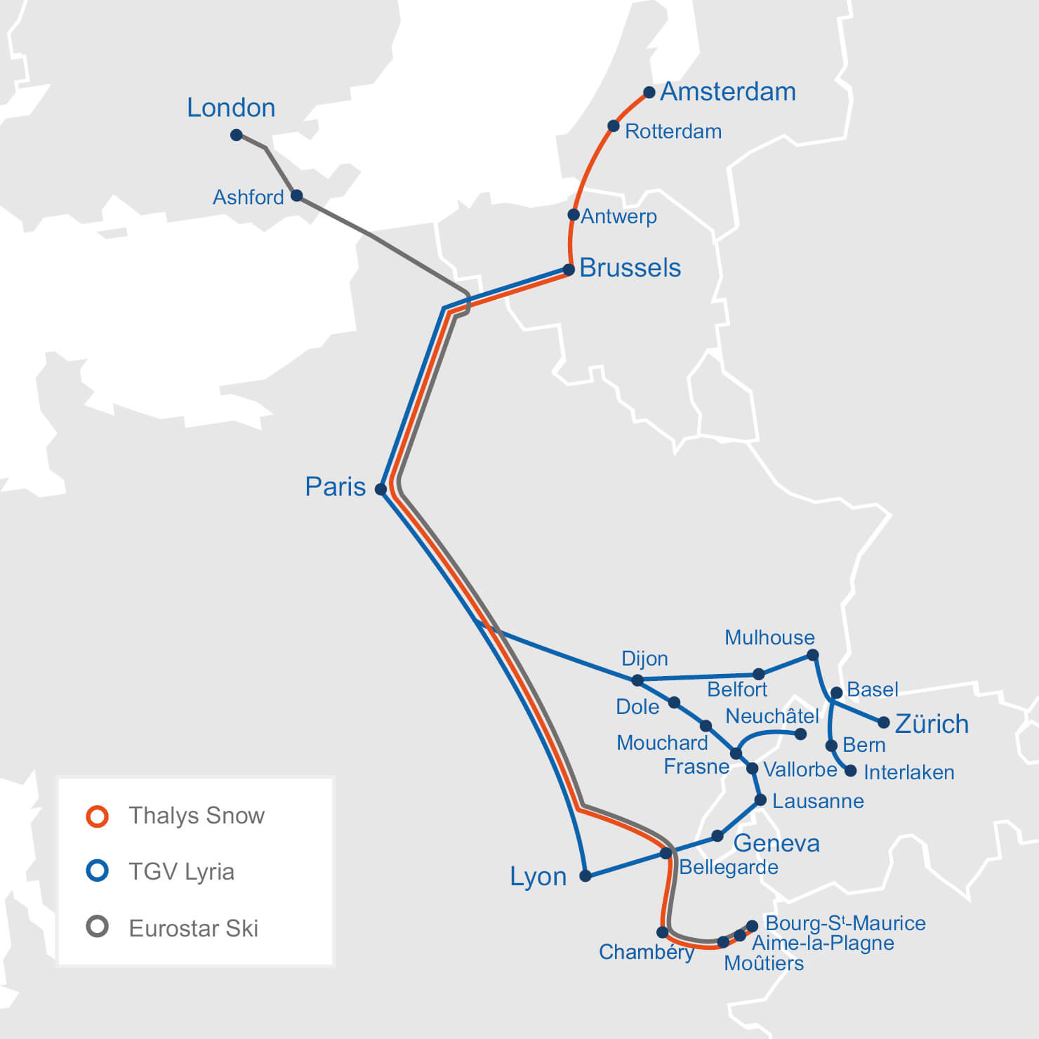 Destinations served by Thalys Snow, Eurostar Ski and TGV Lyria