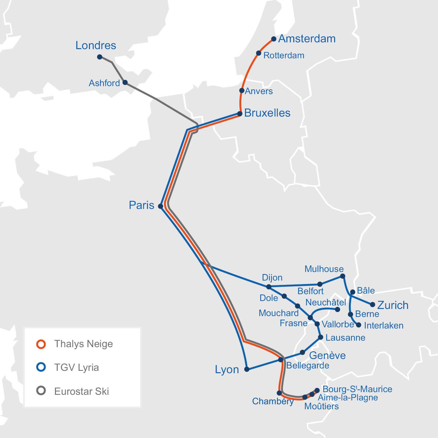 Les destinations desservies par Thalys Neige, Eurostar Ski et TGV Lyria