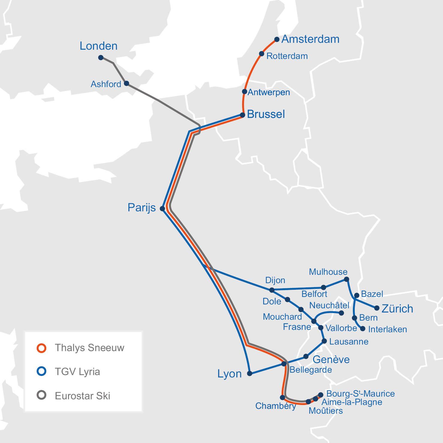 De bestemmingen van Thalys Sneeuw, Eurostar Ski en TGV Lyria