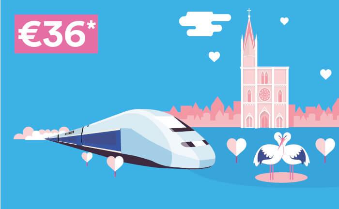 Tekenen met TGV®-trein, kathedraal van Straatsburg, 2 ooievaars en hartvormige wolken