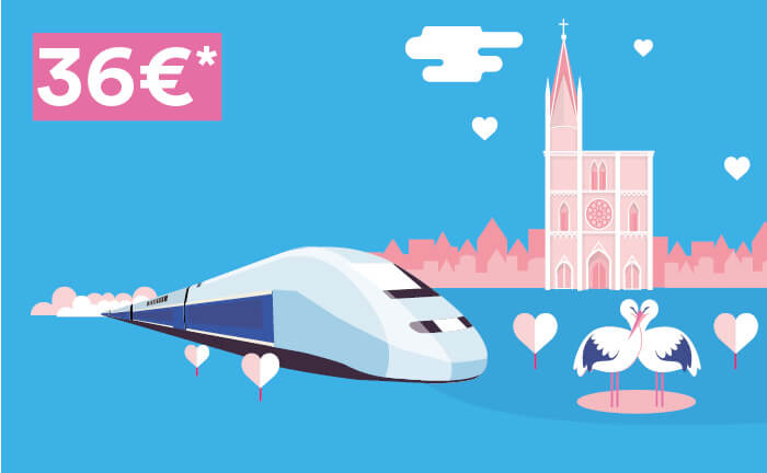 Dessin avec un train TGV®, la cathédrale de Strasbourg, 2 cigognes et des nuages en forme de cœur