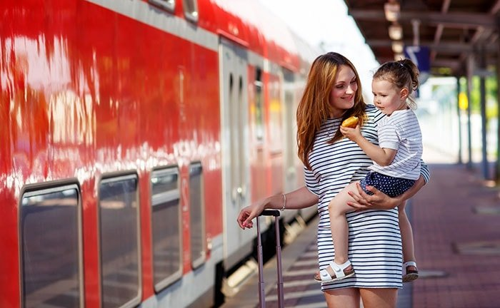 little girl with mother on station platform