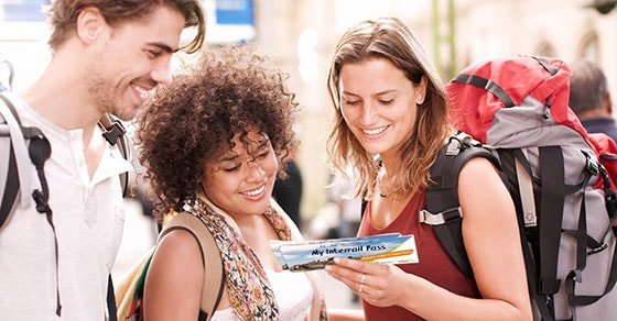 Young travellers with their Interrail pass