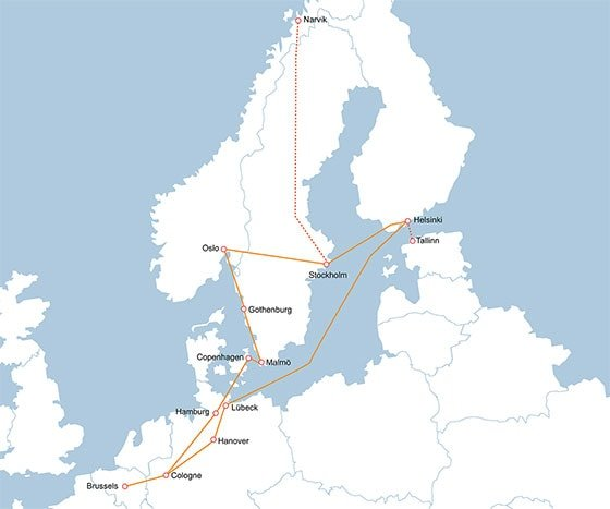 Travel itinerary with Interrail through Scandinavia