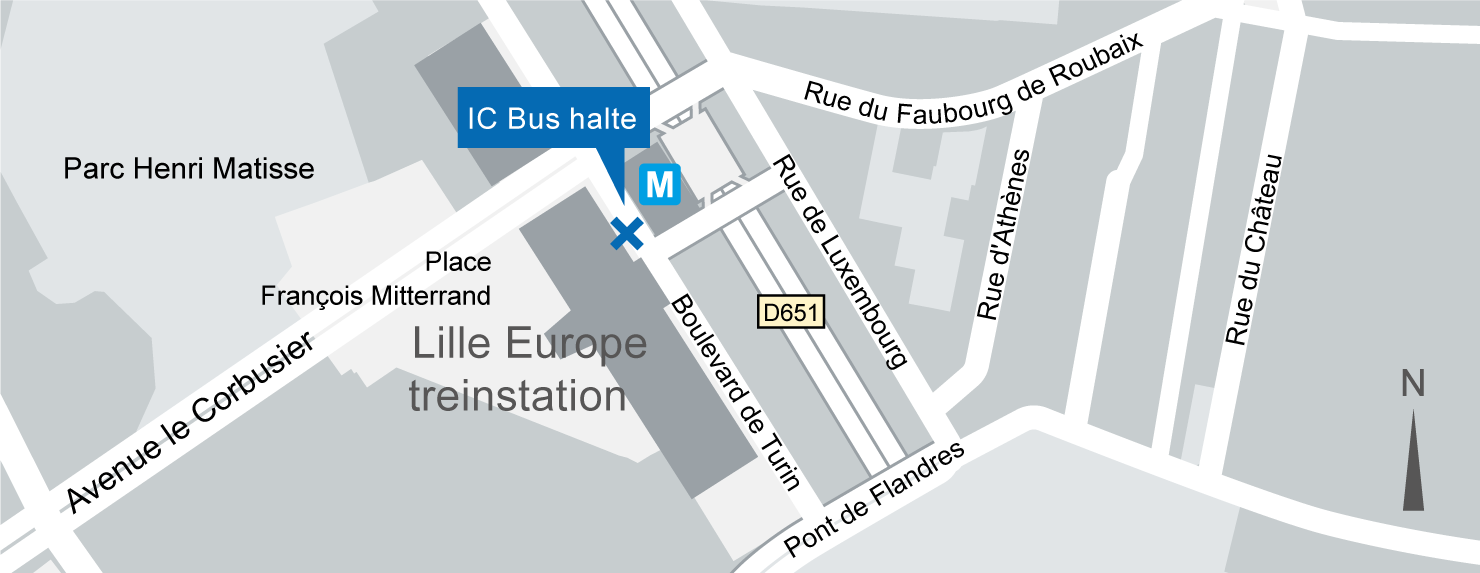 Plattegrond IC-Bus halte Lille Europe
